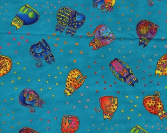 RARE Laurel Burch Fanciful Felines Cats All Over in Turquoise 1/2 yard