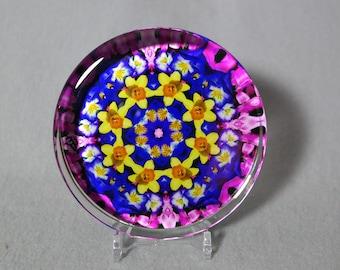 Daffodil Glass Paperweight Boho Chic Mandala New Age Sacred Geometry Hippie Kaleidoscope Unique Boss Gift Teacher Gift Joyful Jonquils