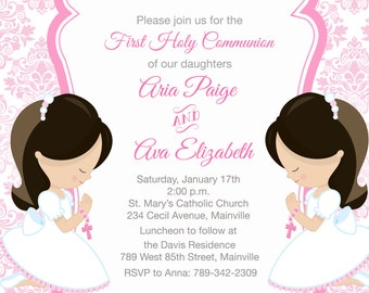 First Holy Communion Invitation for Siblings, Twins, Sisters, Cousins, ANY Hair Color -  Printable or Printed