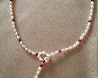 """Natural Pearl Ruby Red Bead Lariette Drop Necklace 18"""""""