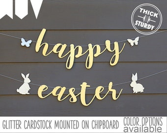 happy easter banner, bunny sign, spring banner, Easter decorations, gold glitter party decorations, cursive banner, SPR002