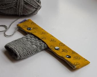 "Needle cozy, 8"" dpn holder, Circular needle case, Sock knitting case, Knitting holder, Needle cosy, dpn needle holder, Knitting needle case"