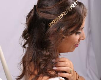 Bridal Headband, gold Headband, Bridal Headpiece, Leaves Headpiece, Headband, Grecian Head Piece, Bridal Gold Headband, Gold Head piece