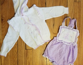 Vintage baby girls sweater and romper set - sz 9-12 mo