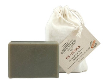 Fir and Juniper with green clay, all natural handmade cold process soap, essential  oil soap