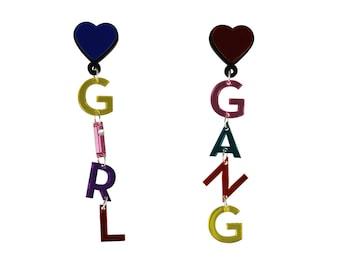 Girl Gang Earrings, Feminist Earrings, feminist Jewelry, girl power, statement earrings, acrylic earrings, plastic earrings