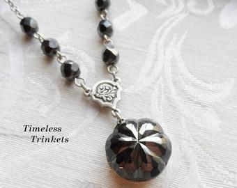 Vintage Czech Glass Button Necklace, Steel Gray Flower, Metallic Czech Glass Beads, Antique Silver Finish
