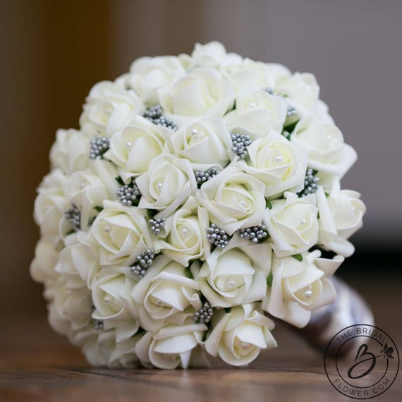 Bridal Bouquet Ivory And Gray Wedding Bouquet Ivory Roses