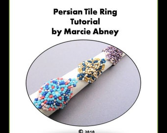 Beadweaving Tutorial Persian Tile Bead Woven Ring in Peyote and Herringbone Beading Beaded Instructions Lessons Jewelry Making PDF DIY