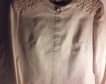 New Cream Colored Suit with Lace Skirt, Size 10