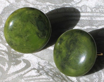 Bakelite Vintage Earrings SaLe Estate Antique Jewelry EOD Moss Mottled Marbled Green Early Century End of Day Chunky Button SB Catalin Mod