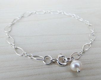 Silver & Pearl Bracelet - Sterling Silver