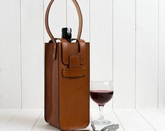 Leather Wine Bottle Carrier, Leather Wine Bottle Bag, Vintage Wine Bottle Holder, Leather Champagne Bottle Carrier