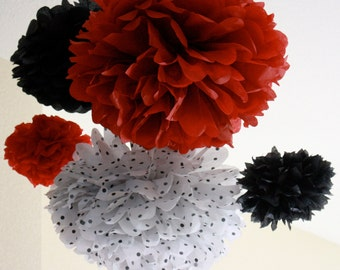 Tissue Paper Pom Poms -Set of 10 - Lady Bug, Mouse, black red polka dot, Polka Dot Party Decorations