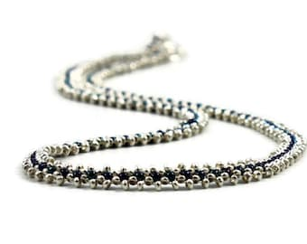 Karen Hill Tribe - Silver Necklace - Blue Hematite Necklace - Beaded Chain - Beadwork Jewelry - Silver Jewelry - Bead Chain Necklace