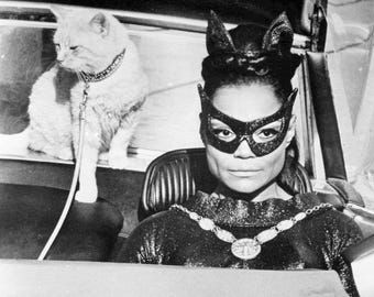 Eartha Kitt Catwoman 1967 Batman Publicity Photo 1960s 70s Kitsch Pop Television Weird Superhero Supervillain Show Black White Photo Print