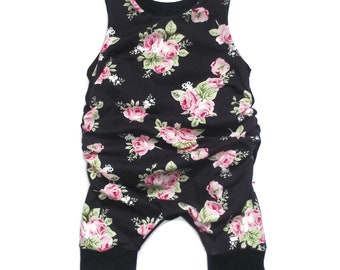 Romper shorts scalable roses vintage