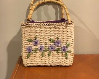 Vintage purple flower straw purse