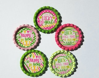 Set of 5 St. Patrick's Day Finished Bottle Caps