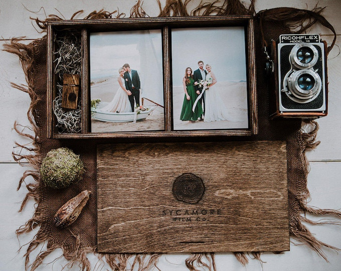 set of 10 - Double 5x7 - Wood print box for 5x7 photos and usb drive - (spanish moss included)