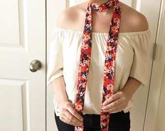 Orange Floral Rifle Paper Co Floral Rayon Skinny Scarf - Handmade - For Her, Spring Fashion, Mother's Day, Summer