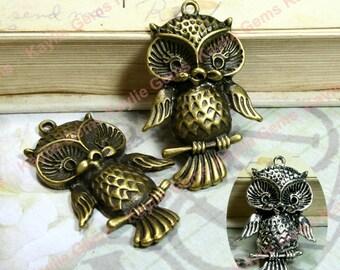 Cute Baby Owl Hoot Charm Pendant Antique Brass Antique Silver 42mm - 4pcs