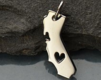 California State Charm, Sterling Silver California Charm, Heart in California Charm, I heart California Charm