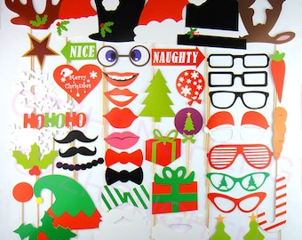 Christmas Decor Photo Booth Props 50 Piece Santa Wedding Photo Props set - Holidays Photobooth Props - Party Props