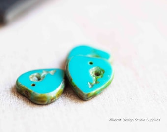 2 Green Turquoise Picasso 16x17mm Heart Pendant with Flower Czech Glass Beads (A301)