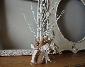 White glitter tree small with burlap base table top spring home burlap kitchen table decor centerpiece
