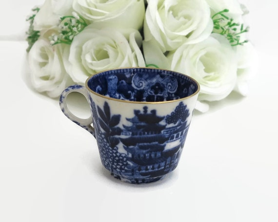 Antique Spode Copeland demitasse cup, blue and white Chinese pattern, Mandarin, pattern number 1327, 1875 - 1890, Victorian
