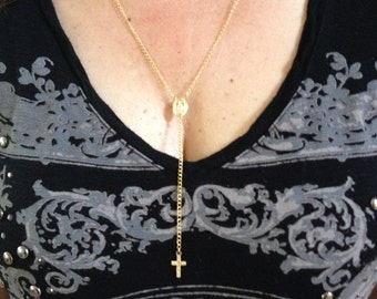 Rosary necklace w/ center medallion and cross Gold Plated