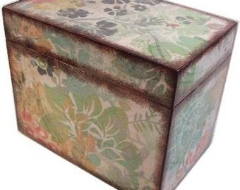 Recipe Box, Wood Recipe Box, Decoupaged Recipe Box,  Asian Recipe Box, Wedding Recipe Box, Bridal Shower Box, Holds 4x6 Cards, MADE TO ORDER