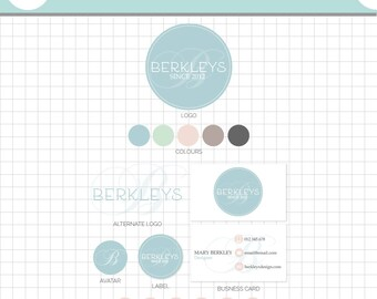 LOGO BRANDING SET - Berkleys - Business Card, 2 logos, Sticker, Icons, Avatar