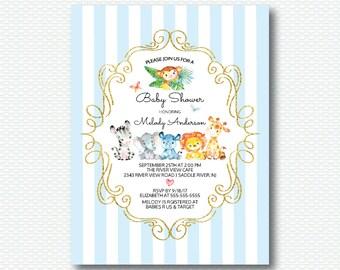 Safari Baby Shower Invitation, Safari, Jungle, Jungle Shower, Cute, Gold, Blue, Boy, Elephant, Giraffe, Lion, Monkey, Digital Printable