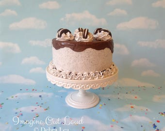 Faux Cake Fake Chocolate Sandwich Cookies and Cream Decor Food Kitchen Display