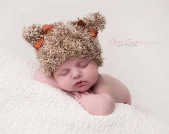 Kitten Beanie Ear Bear Cat Hat Newborn Photo Prop Kitty Baby Sack Cap Boy Going Home Outfit Infant Coming Girl Black Halloween Hand Knit