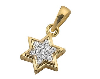 18k Yellow Gold Diamond Star of David Pendant