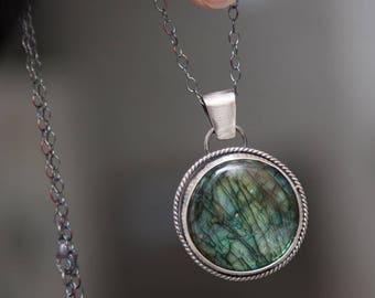 Green Labradorite | Pendant | Necklace | Sterling Silver | One of a Kind | Handmade Jewelry