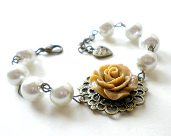 Bridal Pearl Bracelet Rose Flower Bracelet Mother Of The Bride Jewelry Rustic Bracelet Beadwork Bridesmaid Jewelry Romantic Wedding Bracelet