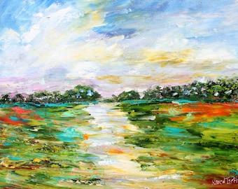 Marsh Wetlands Summer abstract painting original oil on canvas palette knife 12x16 impressionism fine art by Karen Tarlton