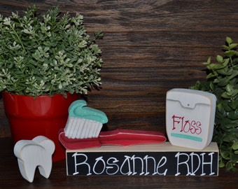 Personalized Dental Hygienist Gift Block Set Personalized Dentist Christmas Gift Block Set, RDH Graduation Gift, Dental Assistant, CDA