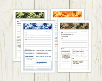 Summer Camp Stationery - camouflage - Digital - Instant download - fill in note for camp