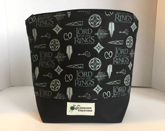 Wedge Bag, Zippered Bag, Knitting Project Bag, Small Project Bag, Sock Size, Lord of the Rings