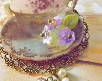 Teacup Brooch, Turquoise, Violets, Filigree Brooch, Tea Party Jewelry, Violet Brooch
