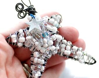 Personalized Ornament, Star Ornament, Wire Star, Beaded Ornament, White Star, White Ornament, Christmas Ornament, Suncatcher - Wings