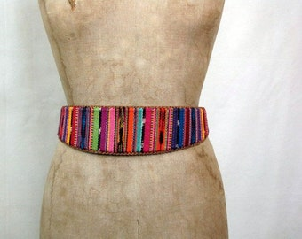 Vintage Colorful Belt | Made in Guatemala | Lands' End | Cotton Woven | Leather | Wide Front | Size 30 | Buckle | Adjustable