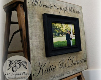Wedding Sign, Wedding Frame, Wedding Picture Frame, Wedding Song, Wedding Vows, Anniversary, Love  16x16 ALL BECAUSE TWO