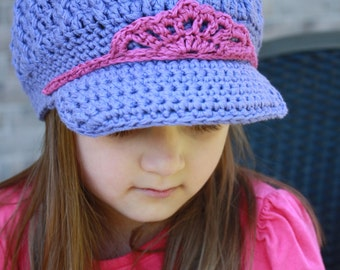 Girls Crochet Newsboy Hat,Baby Visor Hat,Girls Crochet Brim Hat,Girls Crochet Hat,Baby Crochet Hat,Kids Crochet Hat,Crochet Visor Cap