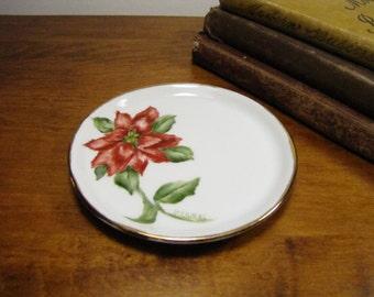 Vintage Porcelain Coaster - Red Floral